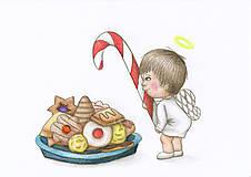 Kresby - Anjelik a vianočné cukrovie - 8918246_