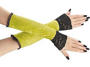 Rukavice - Dámské rukavice zamatové žlté s čipkou 01T - 8922074_