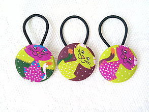 Ozdoby do vlasov - BonBon gumičky – buttonky (funny cats) - 8919459_