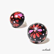 Náušnice - Černočervené pecky - 8922384_