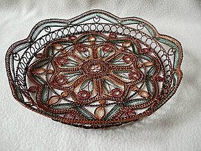 Dekorácie - Drôtená miska V medi maľované - 8920250_