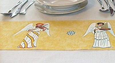 Úžitkový textil - Maľovaný obrus stredový -  žltý, 120 x 20 cm - 8678317_