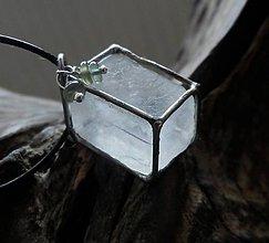 Náhrdelníky - Kvádrik (optický kalcit, zelený apatit) - 8920426_