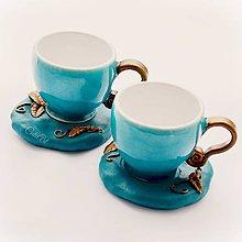 Nádoby - Tyrkysové na kávu - sada dvoch šálok s podšálkami - 8921797_