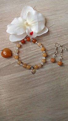 Sady šperkov - Set medový jadeit a krištál - 8920937_