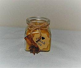 Svietidlá a sviečky - Sviečka z včelieho vosku v sklenej flaštičke  - 8922319_
