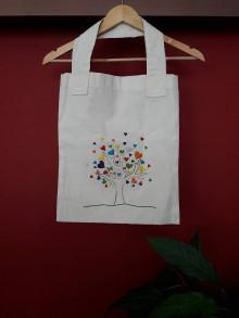Nákupné tašky - Ručne vyšívaná taška...Srdiečková... - 8922507_