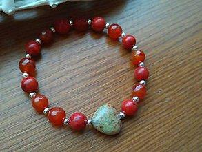 Náramky - náramok červený koral, červený jadeit a achát - 8922653_