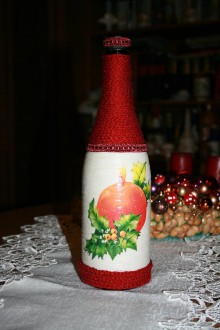 Nádoby - Vianočná fľaša - sviečka - 8925505_