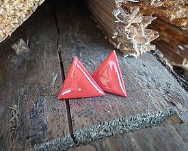 Náušnice - Trojuholníky 20 mm (červené) - 8923663_