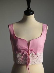 Topy - ružová vesta s čipkou - 8924865_