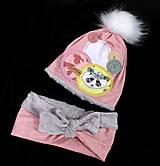 Detské čiapky - Setík s pandou - 8923170_