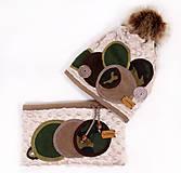 Čiapky - Originálny dámsky set - kamufláž - 8924710_
