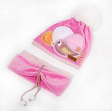 Detské čiapky - Ružový set s vtáčikom - 8924739_