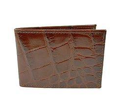 Iné - Kožené púzdro na platobné karty, hnedá lesklá hadina - 8924328_