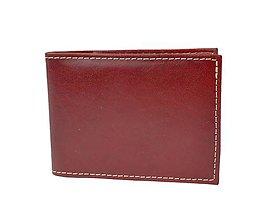 Peňaženky - Kožené púzdro na karty a vizitky v bordovej farbe - 8925774_