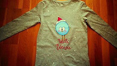 Tričká - Veselé Vianoce od vtáčika - 8922795_