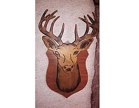 Dekorácie - Jelen trofej dekoracia z dreva - 8922519_