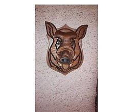 Dekorácie - Hlava diviaka vyrezavana z dreva 3D - 8922529_