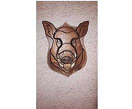 Dekorácie - Hlava diviaka vyrezavana z dreva - 8922530_