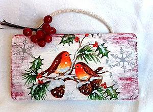 Tabuľky - Vianočná tabuľka vtáčiky v zime - 8922926_