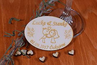Darčeky pre svadobčanov - Gravírovaná drevená svadobná magnetka ako darček na redový tanec 109 - 8924288_