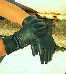 Rukavice - Lahvově zelené dámské kožené s hedvábnou podšívkou - celoroční - 8922605_