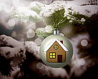 Grafika - Vianočná guľa (grafický obrázok) - domček - 8923395_