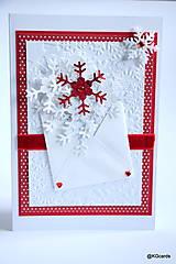 Papiernictvo - Vianočná pohľadnica vločková - 8927966_