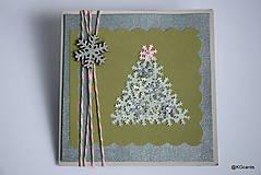 Papiernictvo - Vianočná pohľadnica stromčeková - 8928039_