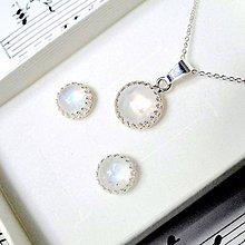 Sady šperkov - Classic Moonstone Earrings & Necklace Silver Ag 925 Set / Strieborná sada náušníc a náhrdelníka s mesačným kameňom - 8926970_