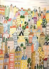 - Mesto veľké - ilustrácia obraz/ originál maľba - 8926885_