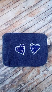 Taštičky - Kozmetická taška  (Riflovina + srdiečka z modrotlače) - 8928557_