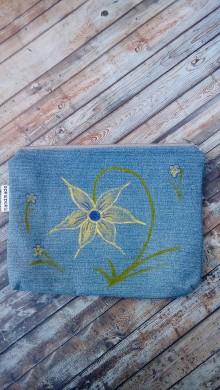 Taštičky - Kozmetická taška  (Riflovina + maľovaný kvet) - 8928583_