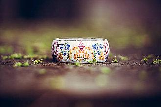 Náramky - Romantický drevený náramok - rozkvitnutá záhrada - 8926779_