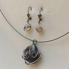 Sady šperkov - oceľová sada s bostwanským achátom - 8926719_