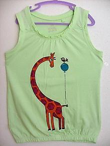 Tričká - Detské tričko Žirafka, farba hrášková ,v: 122 - 8926849_