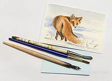 Papiernictvo - Ručne maľovaná pohľadnica - Líška v snehu - 8927356_
