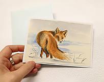 Papiernictvo - Ručne maľovaná pohľadnica - Líška v snehu - 8927359_