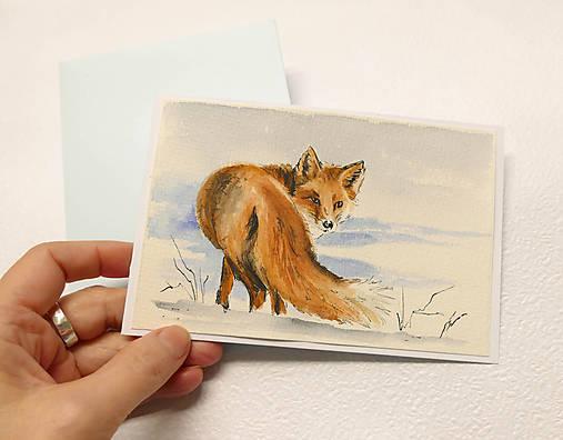 Ručne maľovaná pohľadnica - Líška v snehu