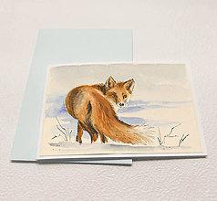 Papiernictvo - Ručne maľovaná pohľadnica - Líška v snehu - 8927358_