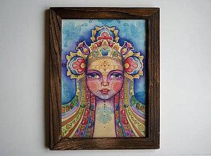 Obrazy - Dievča a všehomír Fine Art Print v drevenom ráme 27x35 cm - 8927401_
