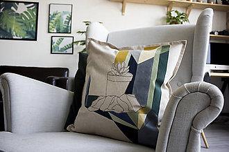 Úžitkový textil - Ručne maľovaná obliečka na vankúš PRALA sukulent - 8929970_