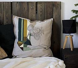 Úžitkový textil - Ručne maľovaná obliečka na vankúš PRALA kvetináčová I. - 8930164_