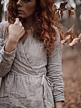 Šaty - Dámske ľanové zavinovacie šaty/kabátik - 8927377_