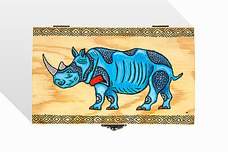 Krabičky - Drevená krabička s Modrým Nosorožcom - 8930133_