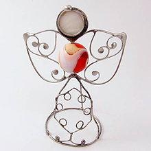 Dekorácie - Pidi cínovaný anjelik (Perleť) - 8933993_
