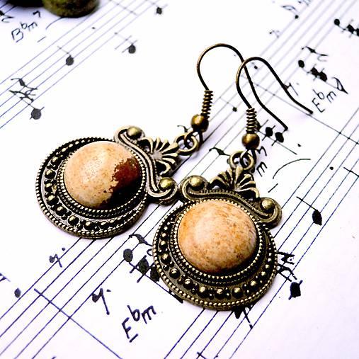 Ornaments & Gemstone Earrings / Bronzové náušnice s ornamentmi /0435 (Picture Jasper / Obrázkový jaspis)