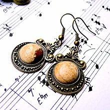 Náušnice - Ornaments & Gemstone Earrings / Bronzové náušnice s ornamentmi (Picture Jasper / Obrázkový jaspis) - 8932795_