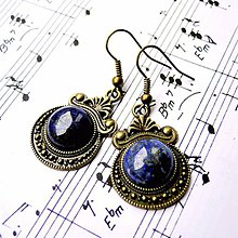 Náušnice - Ornaments & Gemstone Earrings / Bronzové náušnice s ornamentmi (Lapis Lazuli / Lazurit) - 8932867_